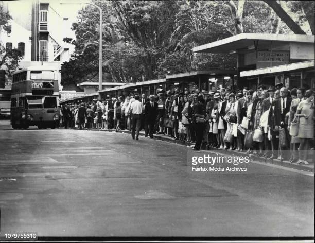 Commuters today packed Carrington St Wynyard waiting for buses because of tonight's rail strikeTwo charter buses left Wynyard for Gosford which were...
