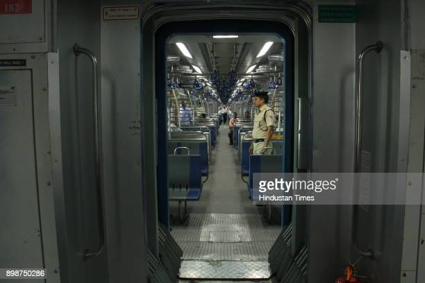 Commuters travel in first Air Condition local train from Borivali to Churchgate on December 25 2017 in Mumbai India The train operated by the Western...