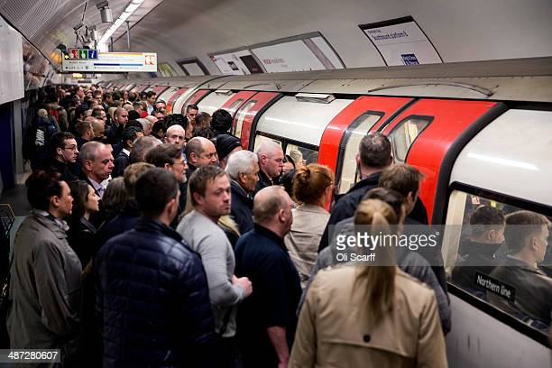Commuters travel on the Northern Line of the London Underground which is running a limited service due to industrial action on April 29 2014 in...
