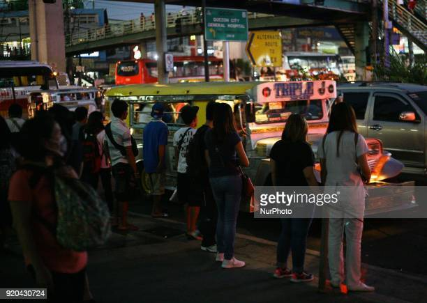 Commuters wait for an empty jeep in Manila Philippines on Friday February 3 2018 The Jeepney has become a symbol of Filipino culture through the...