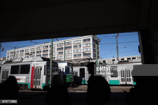 Commuters wait for an MBTA Green Line train at Lechmere Station the current northern terminus of the Green Line in Cambridge MA on Nov 17 2017 The Ts...