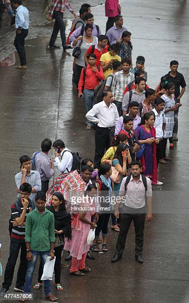Commuters waiting for autorickshaws as they went on daylong statewide strike called by the Mumbai AutorickshawTaximen's Union demand ouster of call...