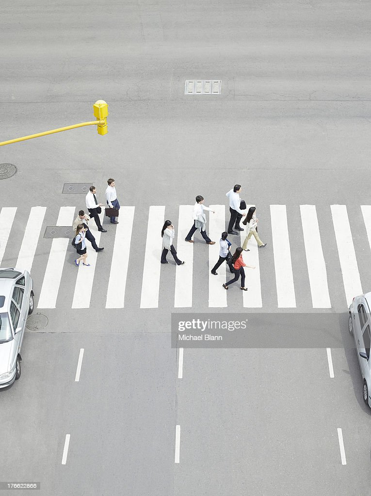 Commuters walking seen from above : Stock Photo