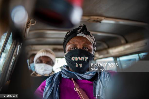 Commuters with masks in a taxi during a visit by Gauteng Transport MEC Jacob Mamabolo and City of Tshwane Administrator Gilberto Martins to the...