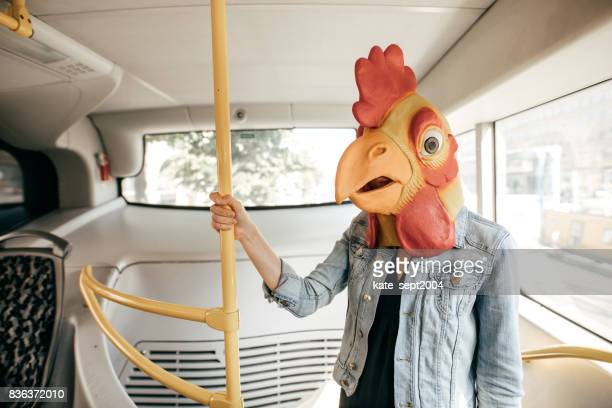 commuting person going to halloween - mask disguise stock pictures, royalty-free photos & images