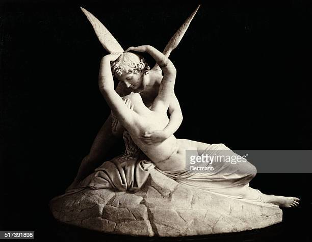 Como, Italy: A stature of Cupid and Psyche embracing from the Villa Carlotta. Undated photograph.