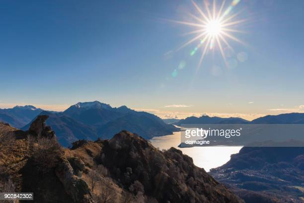 como lake panorama from the top of the mountains - lake como stock pictures, royalty-free photos & images