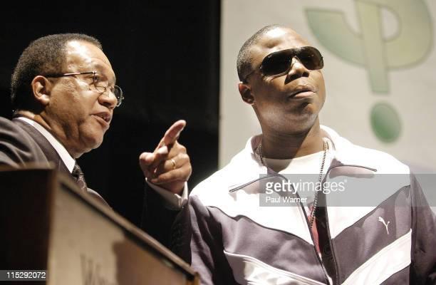 Comoderators Dr Benjamin Chavis president of the Hip Hop Summit Action Network and Doug E Fresh