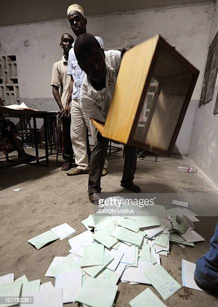 Comoran electoral agents count ballots on December 26 2010 in Moroni after the Indian Ocean archipelago voted today for a new president to replace...