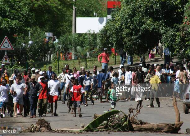 Comoran exiles stage a demonstrations on March 27 2008 against presence of renegade Comoran leader Mohamed Bacar in Mamoudzou on the French Indian...