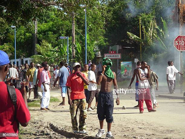 Comoran exiles stage angry demonstration near the Pamandzi airport on March 27 2008 against presence of renegade Comoran leader Mohamed Bacar on the...