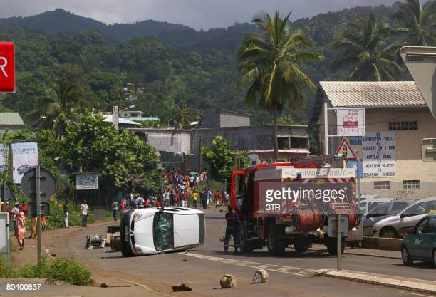 Comoran exiles staged angry demonstrations on March 27 2008 against presence of renegade Comoran leader Mohamed Bacar in Mamoudzou on the French...