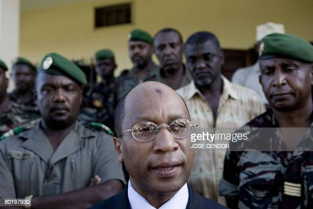 Comoran Minister of Defence Mohamed Bacar Dossar speaks to the media on March 11 2008 during a ceremony in Famboni to prepare for the recapture the...