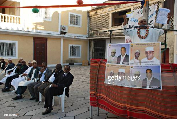 A Comoran politician speaks at a political rally on December 4 2009 on the island of Anjouan in the Comoros ahead of the December 6 legislative...