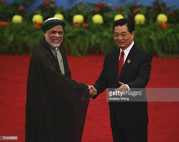 Comoran President Ahmed Abdallah Mohamed Sambi is greeted by Chinese President Hu Jintao during the welcoming ceremony for representatives attending...