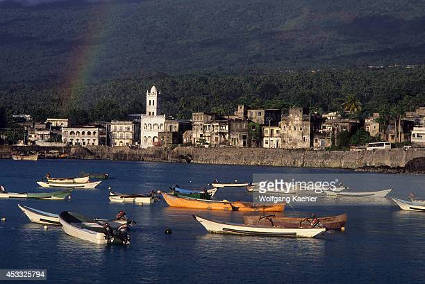 Comoro Is Grand Comore Moroni View Of Town With Fishing Boats In Foreground Rainbow