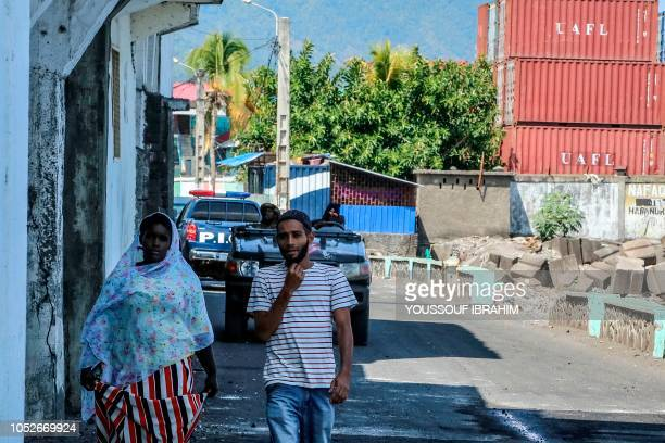 Comoros army soldiers patrol near the port in Mutsamudu on October 21 2018 The Comoros military on October 20 regained control of Mutsamudu's old...