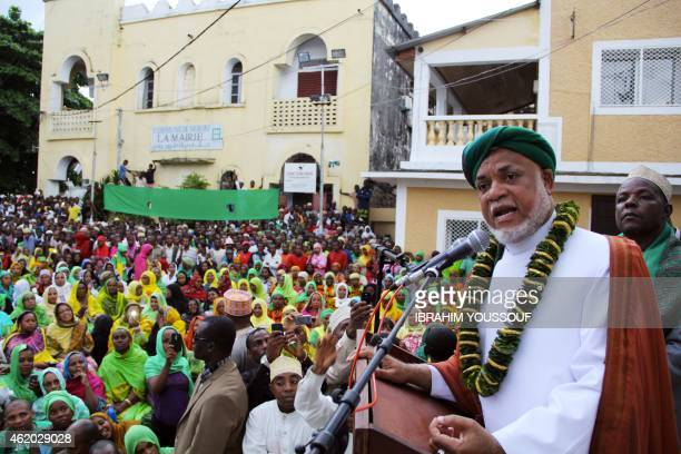 Comoros' former president and candidate in the country's presidential election Abdallah Sambi speaks to supporters during his final campaign rally on...