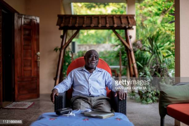 Comoros former vicepresident Mohamed Ali Soilih gives an interview to Agence FrancePresse on March 17 2019 in Moroni Comoros Nineteen candidates had...