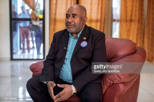 Comoros Incumbent President and Presidential Candidate Azali Assoumani gives an interview to Agence FrancePresse on March 20 2019 at the VIP lounge...