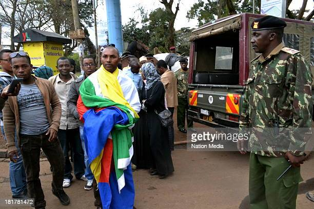 Comoros nationals, who have come to show support, outside Westgate Mall on September 24, 2013 in Nairobi, Kenya. The terrorist attack occurred on...