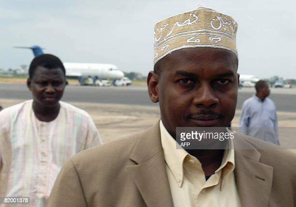 Comoros rebel leader Mohamed Bacar who fled to France's Indian Ocean island of Reunion in March arrives on July 19 2008 in Cotonou after being...