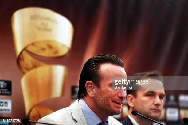 Comosa Chief Boxing Officer Kalle Sauerland talks to the media during a press conference ahead of the World Boxing Super Series fight between George...