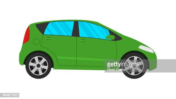 Compact car on white background illustration