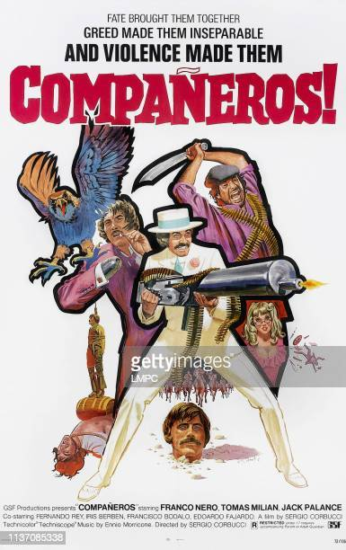 Companeros poster clockwise from center on US poster art Franco Nero Tomas Milian Karin Schubert Franco Nero Franco Nero Jack Palance 1970