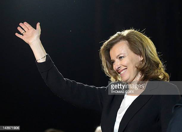 companion OF France's Socialist Party newly elected president Francois Hollande Valerie Trierweiler celebrates at the Place de la Bastille in Paris...