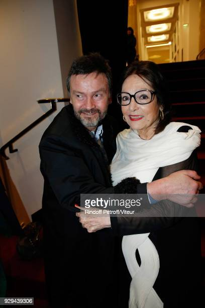 Companion of JeanClaude Brialy Bruno Finck and Nana Mouskouri attend Nana Mouskouri Forever Young Tour 2018 at Salle Pleyel on March 8 2018 in Paris...