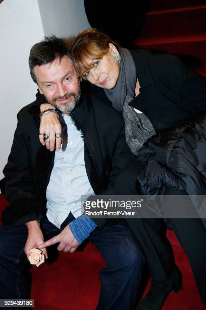 """Companion of Jean-Claude Brialy Bruno Finck and Sophie Agacinski attend """"Nana Mouskouri Forever Young Tour 2018"""" at Salle Pleyel on March 8, 2018 in..."""