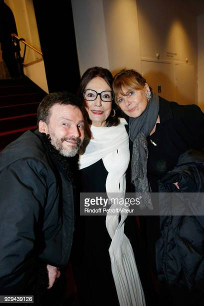 Companion of JeanClaude Brialy Bruno Finck Nana Mouskouri and Sophie Agacinski attend Nana Mouskouri Forever Young Tour 2018 at Salle Pleyel on March...