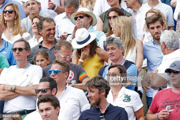 Companion of Rafael Nadal Maria Francisca Perello Xisca cryes at the end of the Men Final of the 2017 French Tennis Open Day Fithteen at Roland...