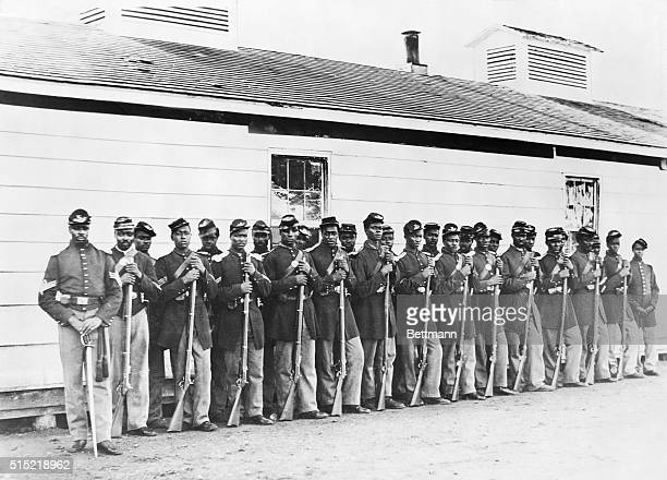 1865 Company E Fourth Colored Infantry at Fort Lincoln Photograph by William Morris Smith