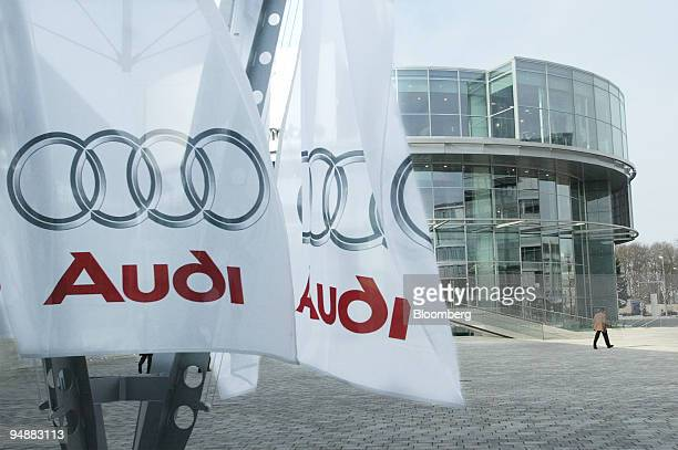 Company flags seen in front of the Audi AG offices in Ingolstadt Germany Wednesday February 25 2004 Audi AG Volkswagen AG's luxury car division...