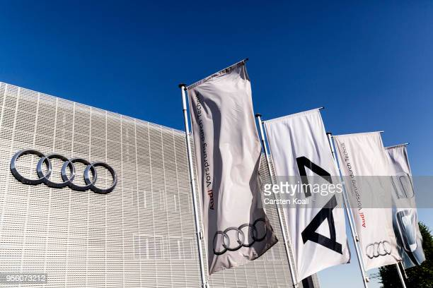 Company flags waving in front of a building at an Audi dealership on May 8 2018 in Berlin Germany According to media reports German authorities are...
