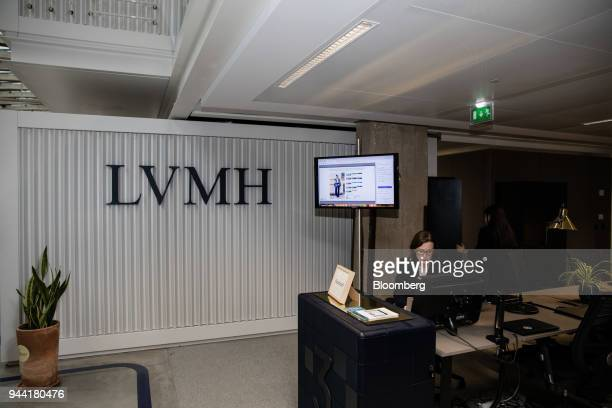 A company logo hangs on the wall during the inauguration of the LVMH startup accelerator at Station F technology campus in Paris France on Monday...