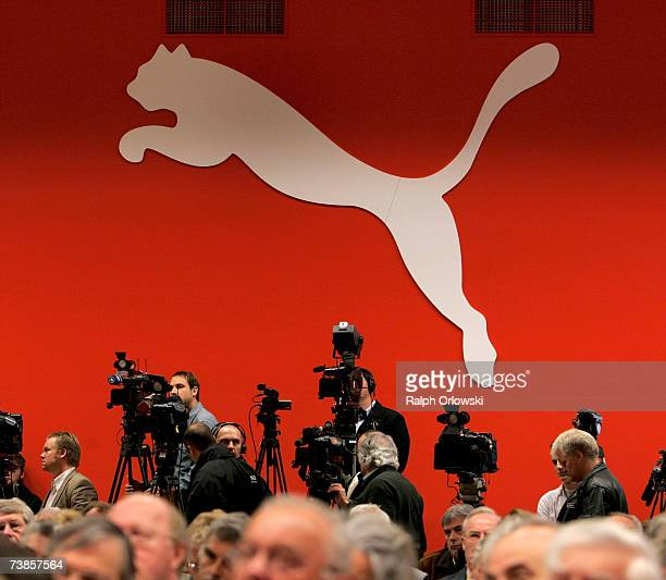 Company logo is pictured during the annual shareholders meeting of Sport lifestyle company PUMA on April 11, 2007 in Nuremberg, Germany. The French...