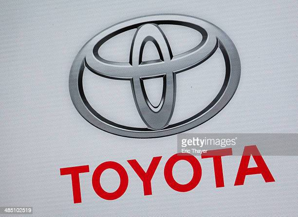 Company logo is seen during the unveiling of the new 2015 Camry during a media preview of the 2014 New York International Auto Show April 16, 2014 in...