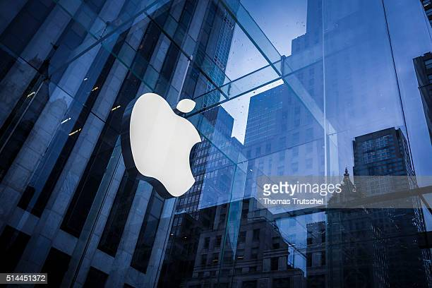 New York United States of America February 25 Company logo of Apple on an Apple store in Manhattan on February 25 2016 in New York United States of...