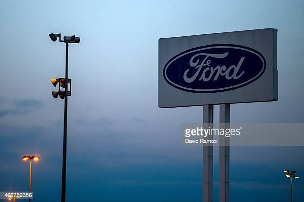 A company logo sits on display outside the Ford plant in Almussafes on February 5 2015 in Valencia Spain The new European Commission economic...
