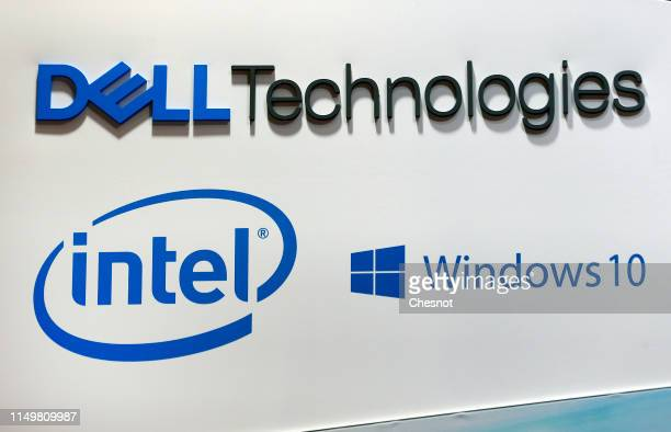 Company logos, Dell Technologies, Intel and Windows 10 are displayed during the 4th edition of the Viva Technology show at Parc des Expositions Porte...