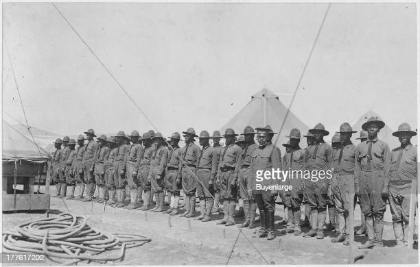 Company of African American troops that make up labor battalion, Governor's Island, New York. .