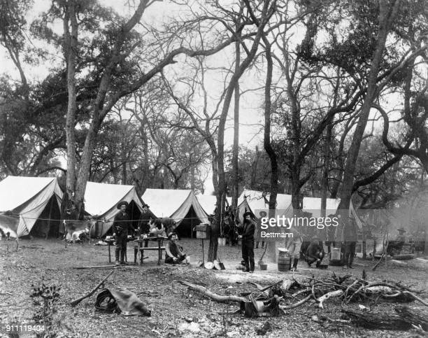 A company of frontier Texas Rangers in camp in the late 1800's