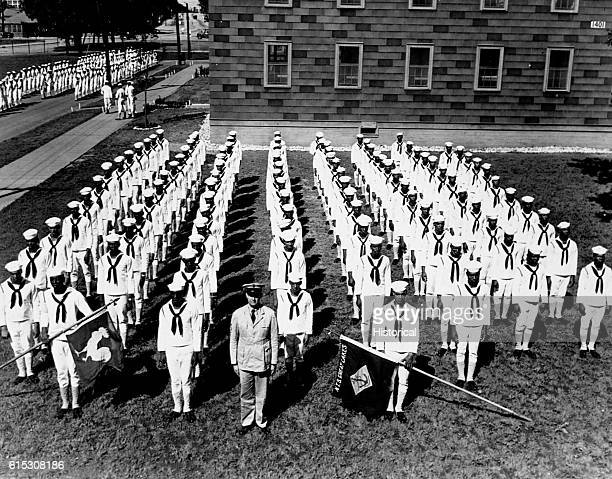 A Company of Negro recruits which has been entered in to the Hall of Fame at the Great Lakes Ill Naval Training Station The hall is to honor...