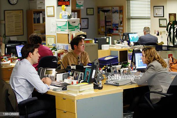 THE OFFICE Company Picnic Episode 528 Airdate Pictured John Krasinski as Jim Halpert Rainn Wilson as Dwight Schrute Jenna Fischer as Pam Beesly