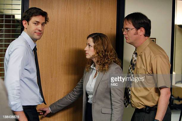 THE OFFICE Company Picnic Episode 528 Airdate Pictured John Krasinski as Jim Halpert Jenna Fischer as Pam Beesly Rainn Wilson as Dwight Schrute