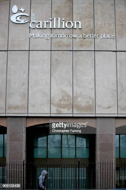 Company signage is seen outside the headquarters of construction company Carillion on January 15 2018 in Wolverhampton England The company has...