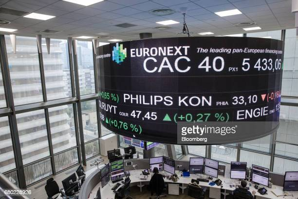 Company stock price information sits displayed on a screen as it hangs above the Paris stock exchange operated by Euronext NV in La Defense business...
